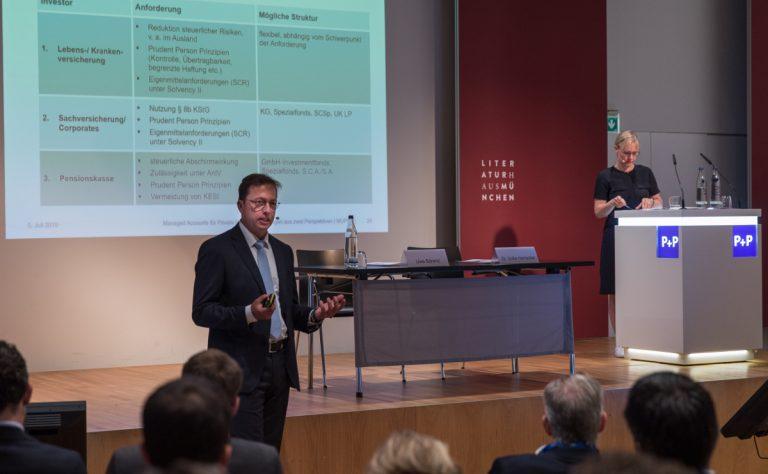 Managed Accounts für Private Equity – Bei der MUPET 2019 erläuterten Uwe Bärenz (P+P) und Dr. Sofia Harrschar (Universal Investment) diese besondere Anlagestruktur.